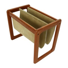 Dual Teak & Suede Leather Magazine Rack By Aksel Kjersgaard, 1960s, Denmark