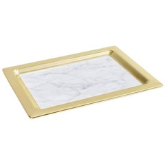 Dual Tray in Carrara Marble and Polished Gold Metal by ANNA new york