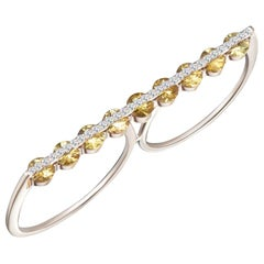 Dual Two Finger Modern Ring, White Diamonds and Yellow Sapphires