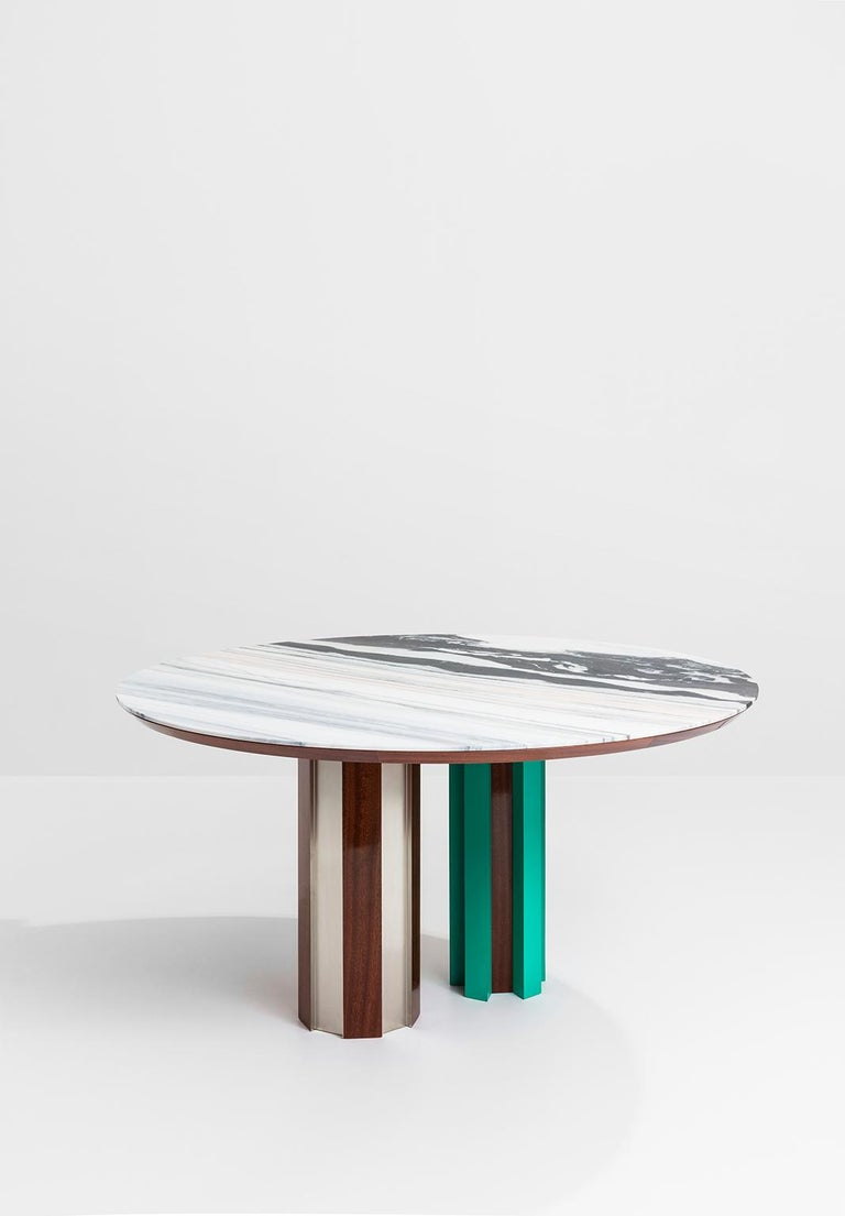 Italian Duale Contemporary Table, Lasa White Marble, Red Glossy Mahogany, Steel For Sale