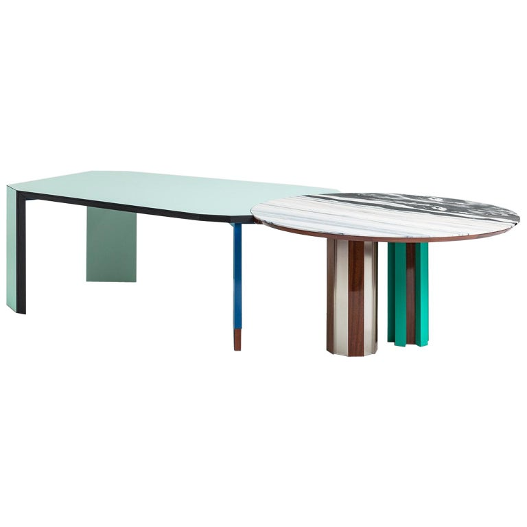 Duale Contemporary Table, Lasa White Marble, Red Glossy Mahogany, Steel For Sale