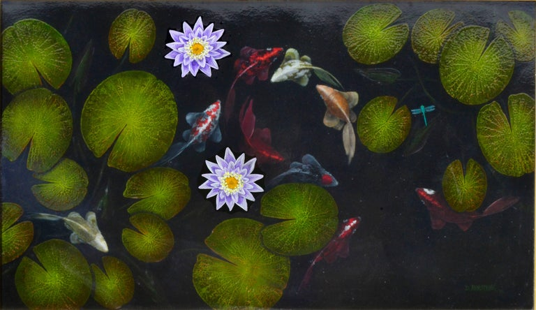 Koi Pond by Duane Armstrong - Painting by Duane Albert Armstrong