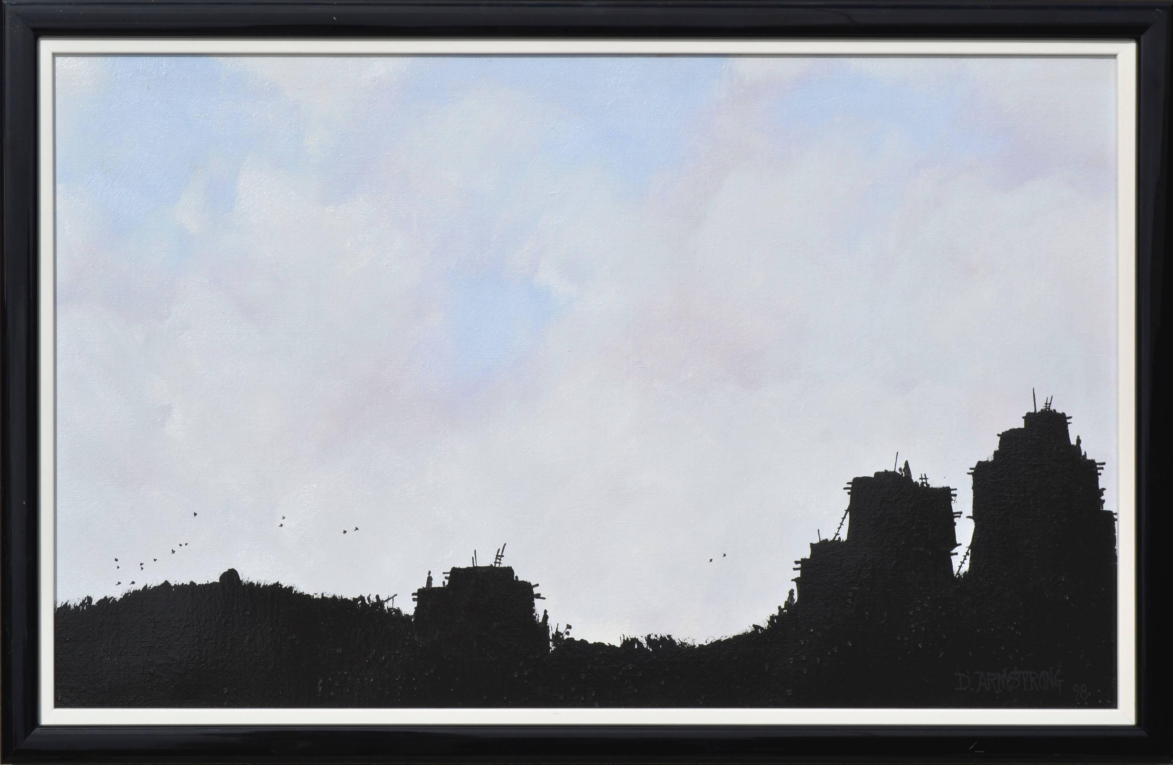 """Pueblo V"" - Minimal Silhouetted Landscape"