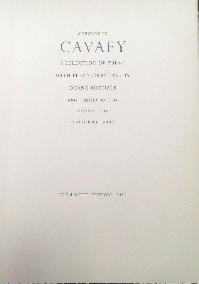 A TRIBUTE TO CAVAFY - A SELECTION OF POEMS WITH PHOTOGRAVURES BY DUANE MICHALS For Sale 2