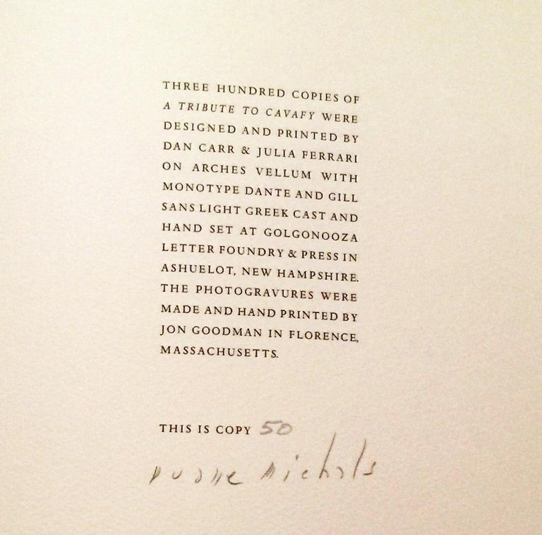 A TRIBUTE TO CAVAFY - A SELECTION OF POEMS WITH PHOTOGRAVURES BY DUANE MICHALS For Sale 3