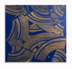 20th Century Geometric Painting Abstract Oil Hard Edge Large Blue Yellow