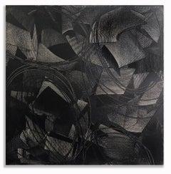 Geometric Painting Abstract Mid Century Oil Hard Edge Large Black on Black