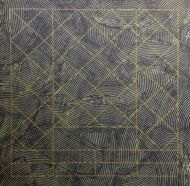 Large 20th Century Geometric Painting Abstract Oil Texture Black Grey Green For Sale 1