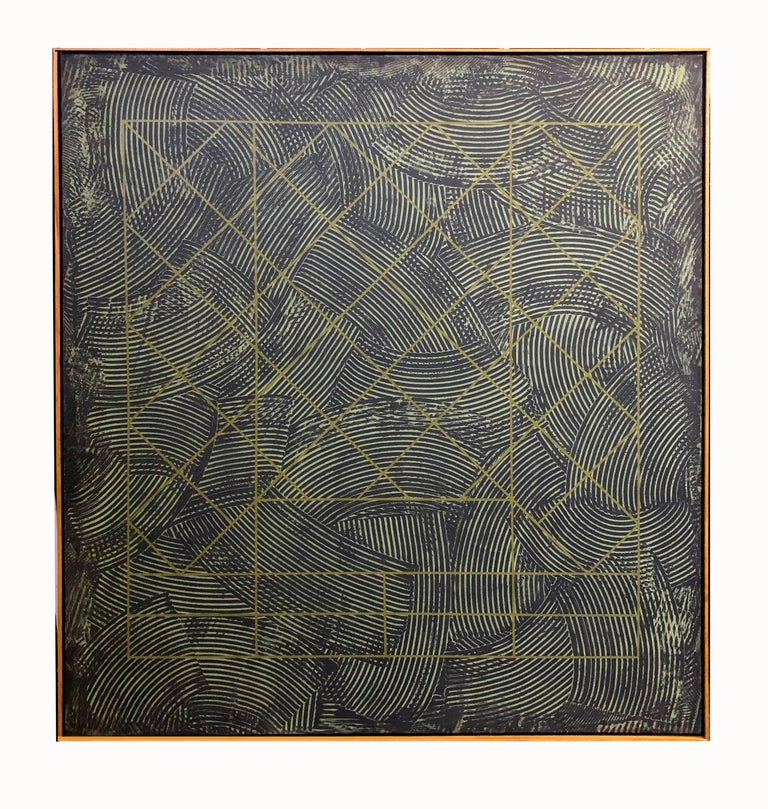 Duanye Hatchett Abstract Painting - Large 20th Century Geometric Painting Abstract Oil Texture Black Grey Green