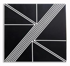 Monumental Geometric Painting Abstract Mid Century Oil Hard Edge Black and White