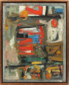 Vintage American Abstract Expressionist Signed Original Mid Century Oil Painting