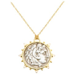 Dubini Alexander the Great Ancient Silver Coin Medallion Moonstone Gold Necklace