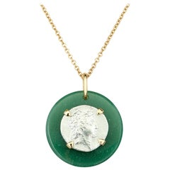 Dubini Ancient Ariarathes VII Coin Aventurine Medallion 18 Karat Gold Necklace