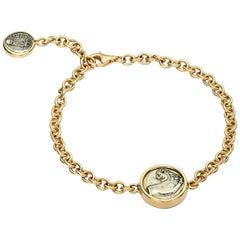 Dubini Ancient Lion Griffin Silver Coin 18 Karat Yellow Gold Bracelet