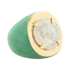 Dubini Ancient Roman Imperial Silver Coin 18 Karat Gold Aventurine Ring