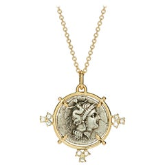 Dubini Athena Ancient Silver Coin Medallion 18 Karat Yellow Gold Necklace