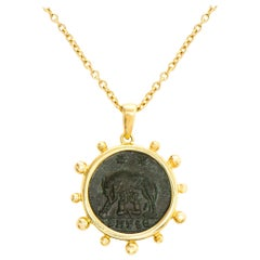 Dubini Capitoline-Wolf Ancient Bronze Coin Gold Necklace