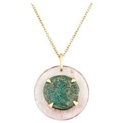 Dubini Constantine Ancient Bronze Coin Rose Quartz Medallion 18K Gold Necklace