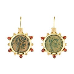 Dubini Constantine Roman Ancient Bronze Coin Citrine Garnet 18K Gold Earrings