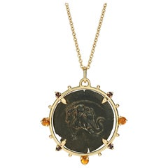 Dubini Demetrios I Ancient Silver Coin Medallion 18 Karat Yellow Gold Necklace