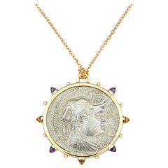 Dubini Demetrios I Ancient Silver Coin Medallion Amethyst Citrine Gold Necklace