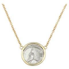Dubini King Gotarzes II Ancient Silver Coin 18 Karat Gold Necklace