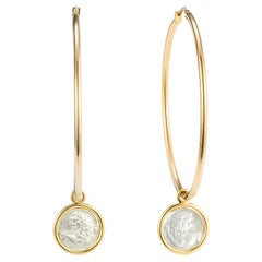 Dubini Lion Hoop Yellow Gold Silver Coin Earrings