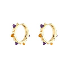 Dubini Punta di Diamante Cabochon Amethyst Citrine Gold Small Hoop Earrings