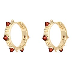 Dubini Punta di Diamante Cabochon Garnet 18K Yellow Gold Small Hoop Earrings