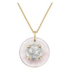 Dubini Roman Ancient Silver Coin Rose Quartz Medallion 18 Karat Gold Necklace