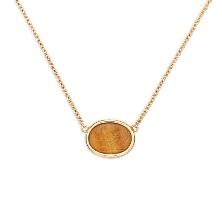 Dubini Sphinx Agate Intaglio Yellow Gold Necklace
