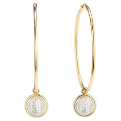 Dubini Spiga di Grano Hoop Yellow Gold Silver Coin Earrings