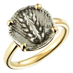 Dubini Spiga di Grano Lucanian Ancient Silver Coin 18 Karat Yellow Gold Ring
