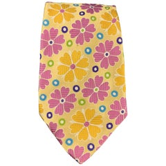 DUCHAMP Pastel Yellow Multi Color Floral Silk Tie