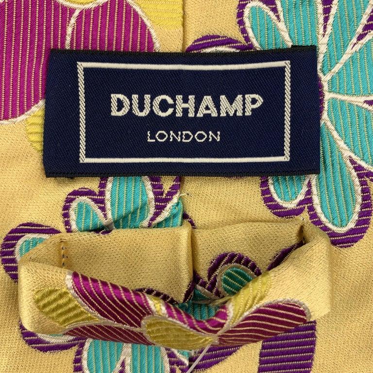 Men's DUCHAMP Pastel Yellow Pink Purple & Blue Floral Silk Tie For Sale