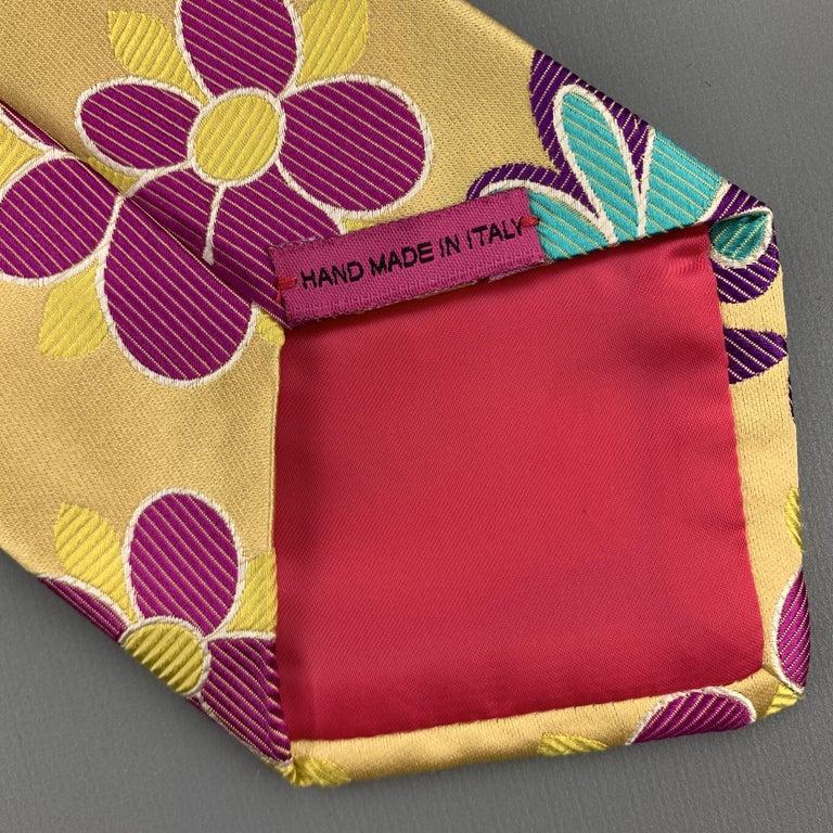 DUCHAMP Pastel Yellow Pink Purple & Blue Floral Silk Tie For Sale 1