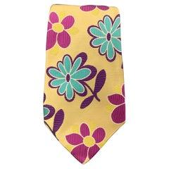DUCHAMP Pastel Yellow Pink Purple & Blue Floral Silk Tie