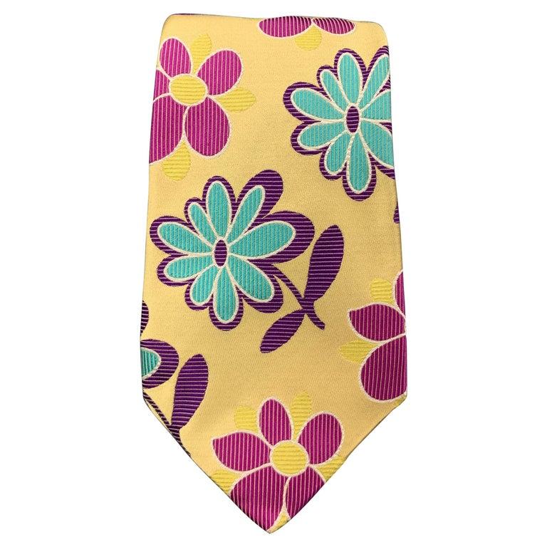 DUCHAMP Pastel Yellow Pink Purple & Blue Floral Silk Tie For Sale
