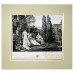 Duchess of La Valliere and Louis XIV in Convent Antique French Colored Engraving