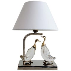 Duck Table Lamp in Crystal and Brass, 1960s