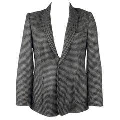 DUCKIE BROWN Size 44 Gray & Black Houndstooth Wool Blend Sport Coat