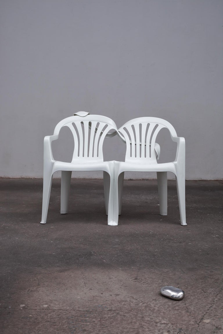 Dudes Plastic Chair Appropriation by Bert Loeschner For Sale 3