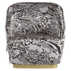 Dudley Armchair in Printed Fabric and Leather by Roberto Cavalli