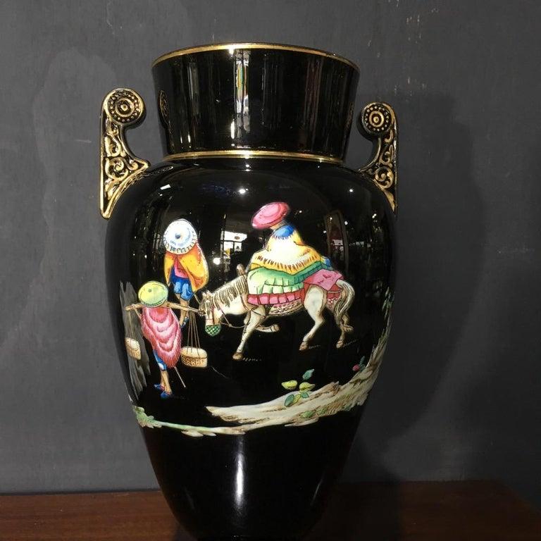 Dudson Black Glaze Chinoiserie Vase, Euterpe Pattern, circa 1875 For Sale 5