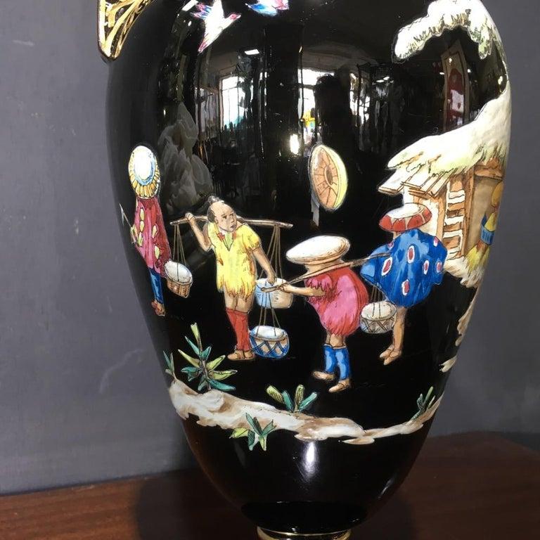 English Dudson Black Glaze Chinoiserie Vase, Euterpe Pattern, circa 1875 For Sale