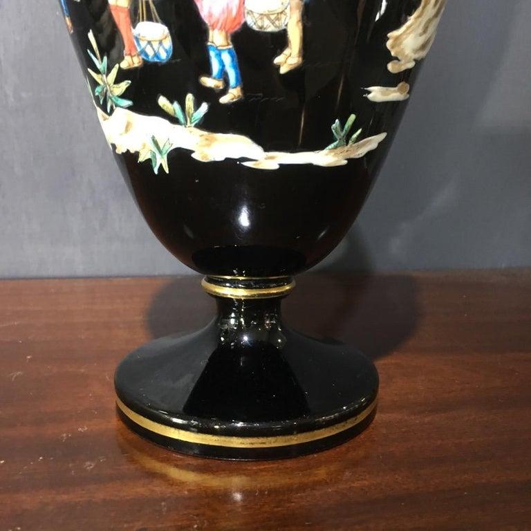 Late 19th Century Dudson Black Glaze Chinoiserie Vase, Euterpe Pattern, circa 1875 For Sale