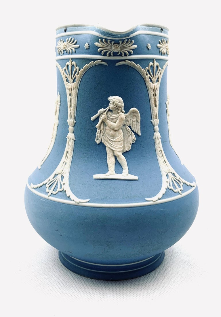 English Dudson Jasperware Pitcher in Blue with Neoclassical Motif's  For Sale