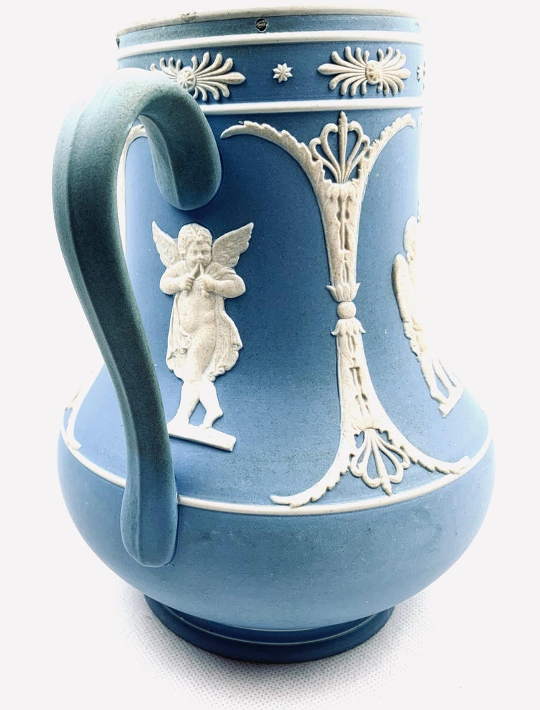Dudson Jasperware Pitcher in Blue with Neoclassical Motif's  In Good Condition For Sale In West Palm Beach, FL