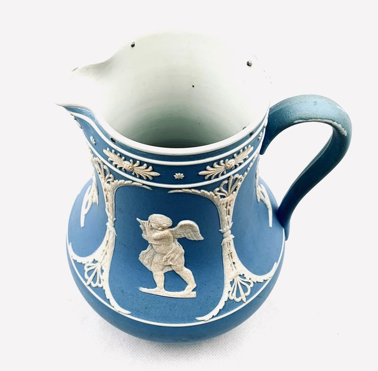 Ceramic Dudson Jasperware Pitcher in Blue with Neoclassical Motif's  For Sale