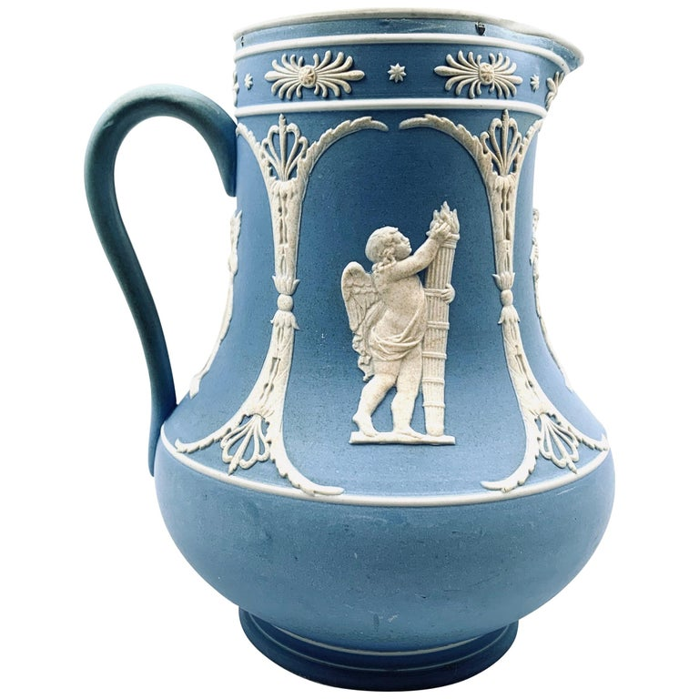 Dudson Jasperware Pitcher in Blue with Neoclassical Motif's  For Sale